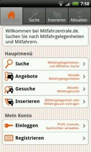 App von der Mitfahrzentrale auf dem Android Handy